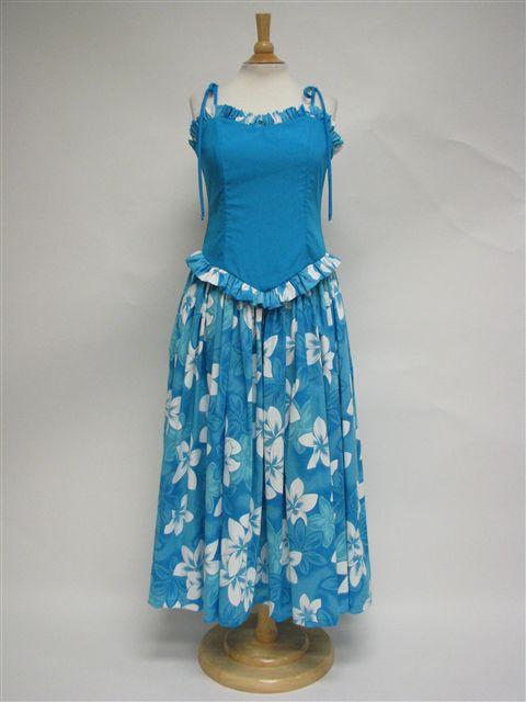 Good Times Plumeria Turquoise Poly Cotton Tahitian Style