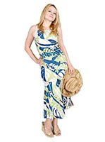 Two Palms Leaf Art Blue Rayon Hawaiian No Sleeve Long Dress