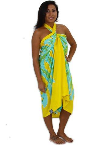 d1df9ffb3a3de Pareo Island Big Leaf Yellow Premium Hand Printed Pareo Sarong ...