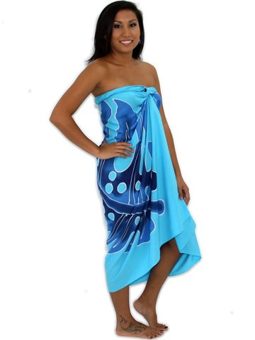7b3d36f9bf498 Pareo Island Big Leaf Light Blue Premium Hand Printed Pareo Sarong ...