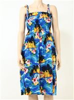 Pacific Legend Sunset Blue Cotton Hawaiian Tube Midi Dress