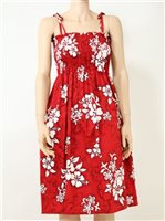 Pacific Legend White Hibiscus Red Cotton Hawaiian Tube Midi Dress