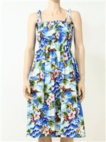 Pacific Legend Diamond Head Blue Cotton Hawaiian Tube Midi Dress