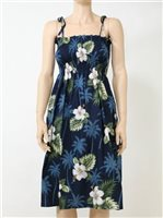 Pacific Legend Hibiscus Monstera Navy Cotton Hawaiian Tube Midi Dress