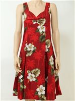 Pacific Legend Hibiscus Monstera Red Cotton Hawaiian Midi Sundress