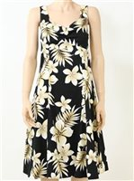 Pacific Legend Hibiscus Black Cotton Hawaiian Midi Sundress
