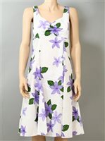 Pacific Legend Plumeria Purple Cotton Hawaiian Midi Sundress