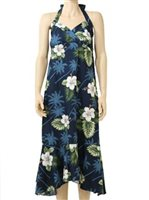 Pacific Legend Hibiscus Monstera Navy Cotton Hawaiian Halter Neck Midi Dress