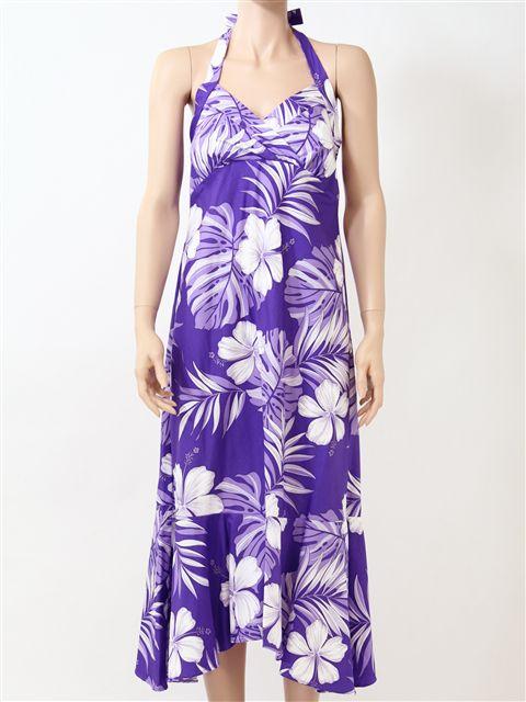 03a50d857d3 Pacific Legend Hibiscus   Monstera Purple Cotton Hawaiian Halter Neck Midi  Dress