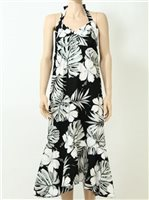 Pacific Legend Hibiscus & Monstera Black Cotton Hawaiian Halter Neck Midi Dress