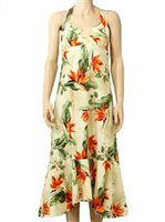 Pacific Legend Bird of Paradise Cream Cotton Hawaiian Halter Neck Midi Dress