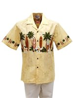 Pacific Legend Surfboard Beige Cotton Men's Border Hawaiian Shirt