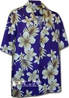 Pacific Legend Tropical Flowers Purple Cotton Men's Hawaiian Shirt