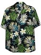 Pacific Legend Plumeria & Monstera Black Cotton Men's Hawaiian Shirt
