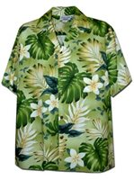 Pacific Legend Plumeria & Monstera Sage Cotton Men's Hawaiian Shirt