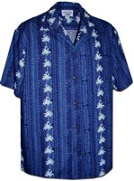 Pacific Legend Palm Tree Navy Cotton Men's Hawaiian Shirt