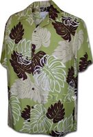Pacific Legend Monstera Green Rayon Men's Hawaiian Shirt