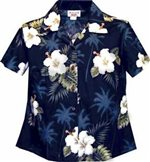 Pacific Legend Hibiscus Monstera Navy Cotton Women's Fitted Hawaiian Shirt