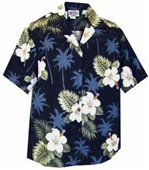 Pacific Legend Hibiscus Monstera Navy Cotton Women's Hawaiian Shirt