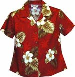 Pacific Legend Hibiscus Monstera Red Cotton Women's Fitted Hawaiian Shirt