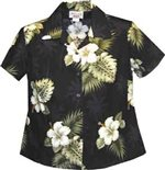 Pacific Legend Hibiscus Monstera Black Cotton Women's Fitted Hawaiian Shirt