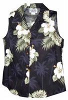 Pacific Legend Hibiscus Monstera Black Cotton Women's Sleeveless Hawaiian Shirt