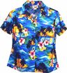 Pacific Legend Sunset Blue Cotton Women's Fitted Hawaiian Shirt