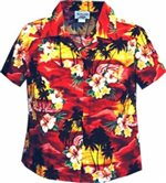 Pacific Legend Sunset Red Cotton Women's Fitted Hawaiian Shirt