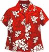 Pacific Legend White Hibiscus Red Cotton Women's Fitted Hawaiian Shirt