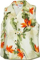 Pacific Legend Bird of Paradise Cream Cotton Women's Sleeveless Hawaiian Shirt