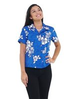 Pacific Legend White Hibiscus Blue Cotton Women's Fitted Hawaiian Shirt