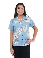 Pacific Legend Hibiscus Blue Cotton Women's Fitted Hawaiian Shirt