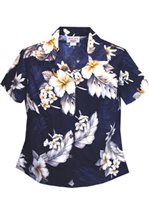 Pacific Legend Hibiscus Navy Cotton Women's Fitted Hawaiian Shirt