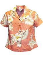 Pacific Legend Hibiscus Peach Cotton Women's Fitted Hawaiian Shirt