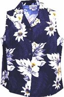 Pacific Legend Hibiscus Navy Cotton Women's Sleeveless Hawaiian Shirt