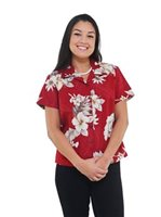 dd68fab763673e Pacific Legend Hibiscus Red Cotton Women s Fitted Hawaiian Shirt