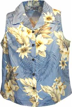 Hibiscus Blue Cotton Women's Sleeveless Hawaiian Shirt