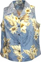 Pacific Legend Hibiscus Blue Cotton Women's Sleeveless Hawaiian Shirt