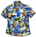 Pacific Legend Diamond Head Blue Cotton Women's Fitted Hawaiian Shirt