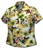 Pacific Legend Diamond Head Maize Cotton Women's Fitted Hawaiian Shirt
