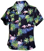 Pacific Legend Flamingos Black Cotton Women's Fitted Hawaiian Shirt