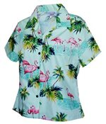 Pacific Legend Flamingos Sage Cotton Women's Fitted Hawaiian Shirt