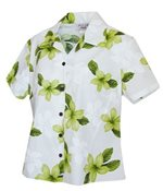 Pacific Legend Plumeria Lime Cotton Women's Fitted Hawaiian Shirt