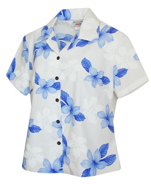 Plumeria Blue Cotton Women's Fitted Hawaiian Shirt