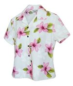Pacific Legend Plumeria Pink Cotton Women's Fitted Hawaiian Shirt