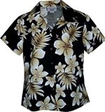 Pacific Legend Tropical Flowers Black Cotton Women's Fitted Hawaiian Shirt