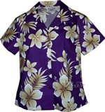 Pacific Legend Tropical Flowers Purple Cotton Women's Fitted Hawaiian Shirt