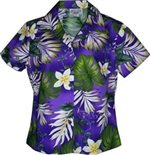 Plumeria & Monstera Purple Ladies Aloha Fitted Shirts