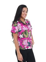 Pacific Legend Plumeria & Monstera Pink Cotton Women's Fitted Hawaiian Shirt