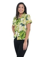 Pacific Legend Plumeria & Monstera Sage Cotton Women's Fitted Hawaiian Shirt